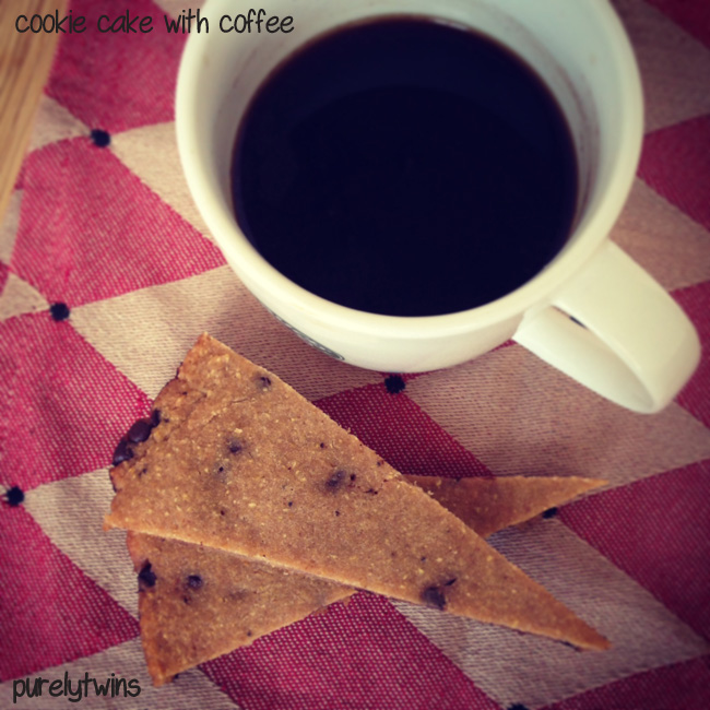 cookie cake with coffee