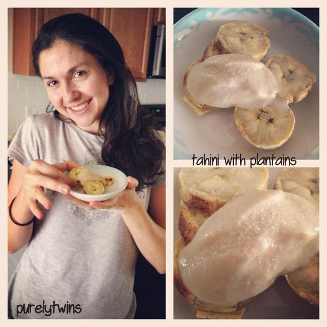 eating plantain with tahini