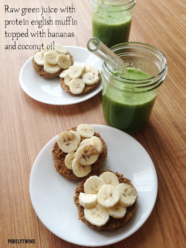 green juice vegan english muffin breakfast