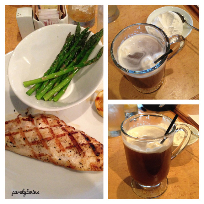 salmon dinner with coffee drink