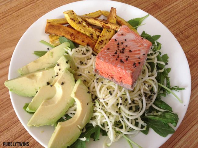 salmon dinner with plantains and avocado
