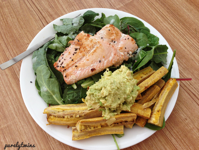 salmon with avocado and plantains