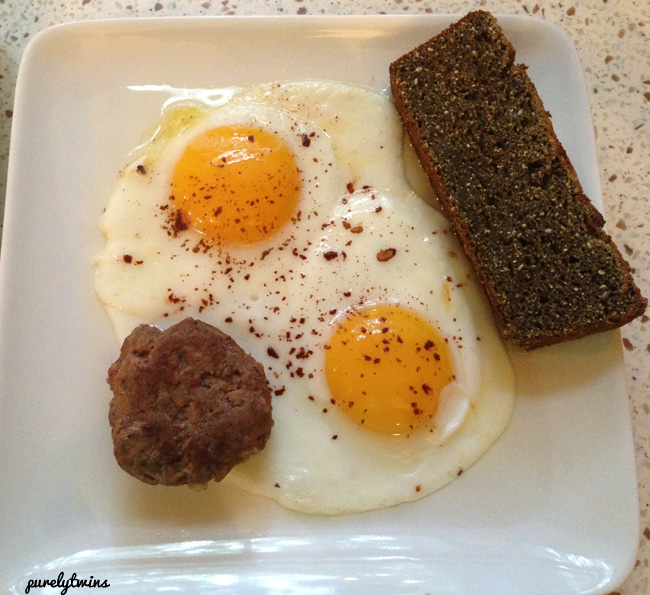 local sausage and eggs with protein banana bread
