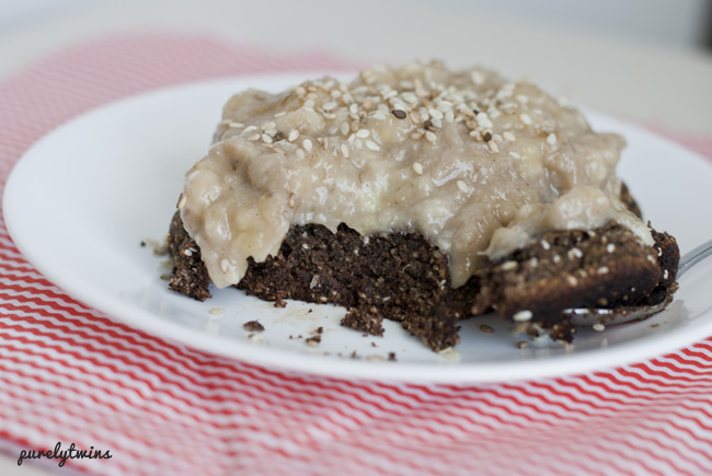 single serving vegan chocolate tahini brownie