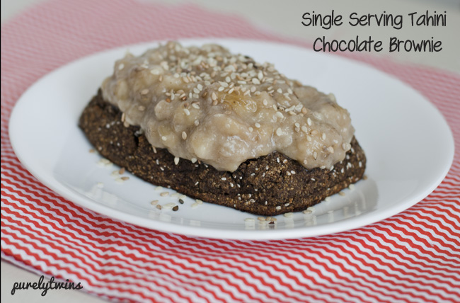 single serving egg-free chocolate tahini brownie cake