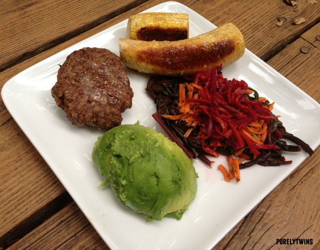 plantain avocado grass-fed beef dinner