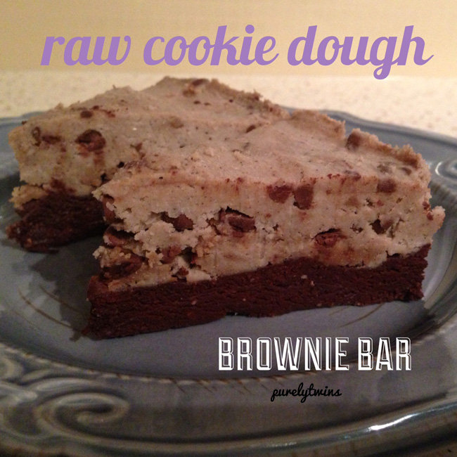 raw cookie dough brownie bar
