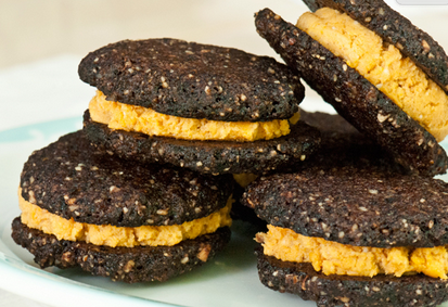 chocolate cookie sweet potato cookie sandwich