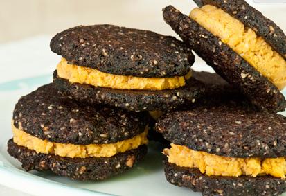 chocolate cookie sweet potato cookie sandwich