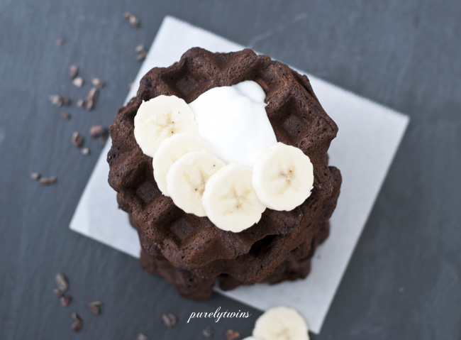 chocolate waffles with bananas