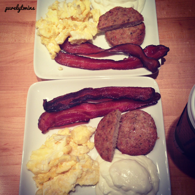 eggs bacon sausage kefir breakfast