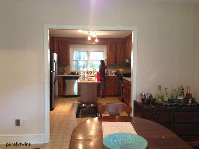 looking at kitchen