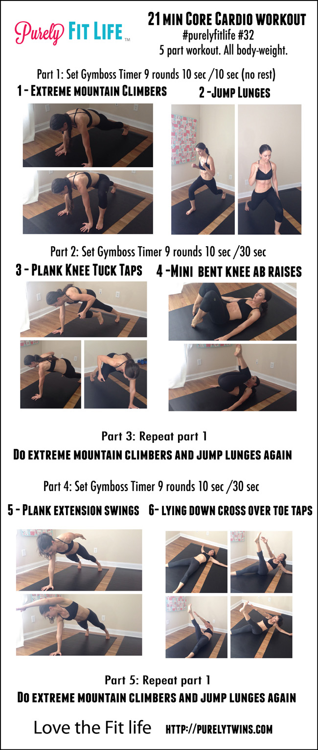 21 minute core cardio at home workout. Killer workout for women to get in shape at home and tighten up their entire body. A mix of cardio and strength  in this routine to get the best of both worlds that targets the core.