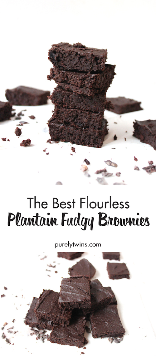 The BEST Flourless Fudgy Chocolate Brownies - naturally gluten-free, grain-free and made without beans and eggs! Brownie recipes that are chewy and irresistible! These moist, dense and fudgy Flourless Plantain Brownies will convert you even if you aren't grain free!