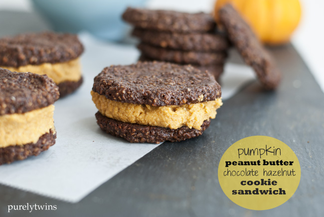 chocolate hazelnut pumpkin peanut butter cookie sandwiches
