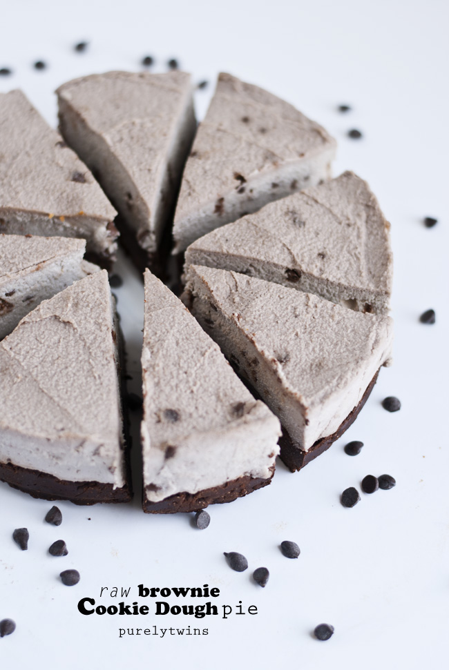 healthy raw brownie cookie dough pie