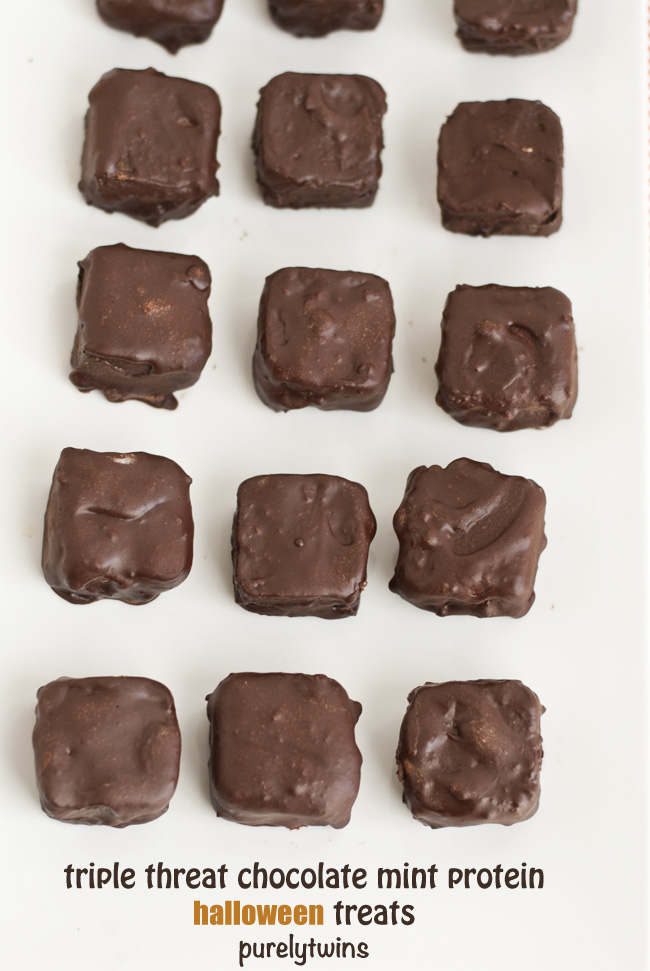healthy triple chocolate protein mint treats