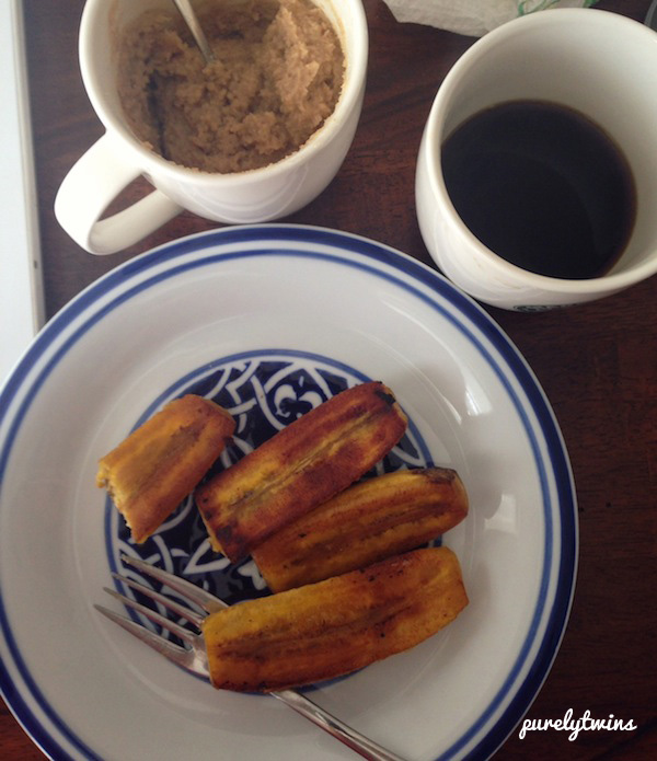 plantains and coffee for breakfast