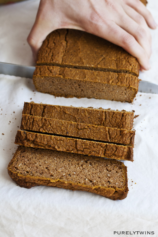 cutting pumpkin bread