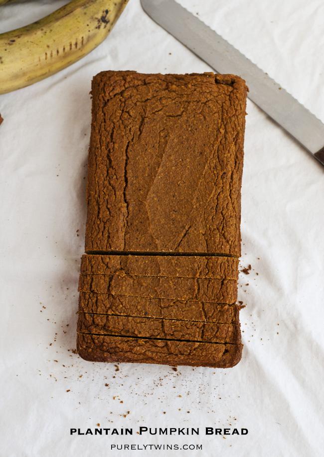 gluten free grain free plantain pumpkin bread