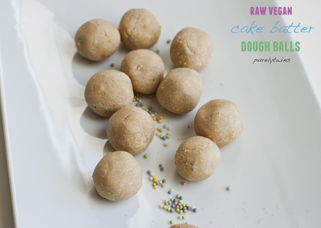 raw vegan cake batter dough balls sprinkles