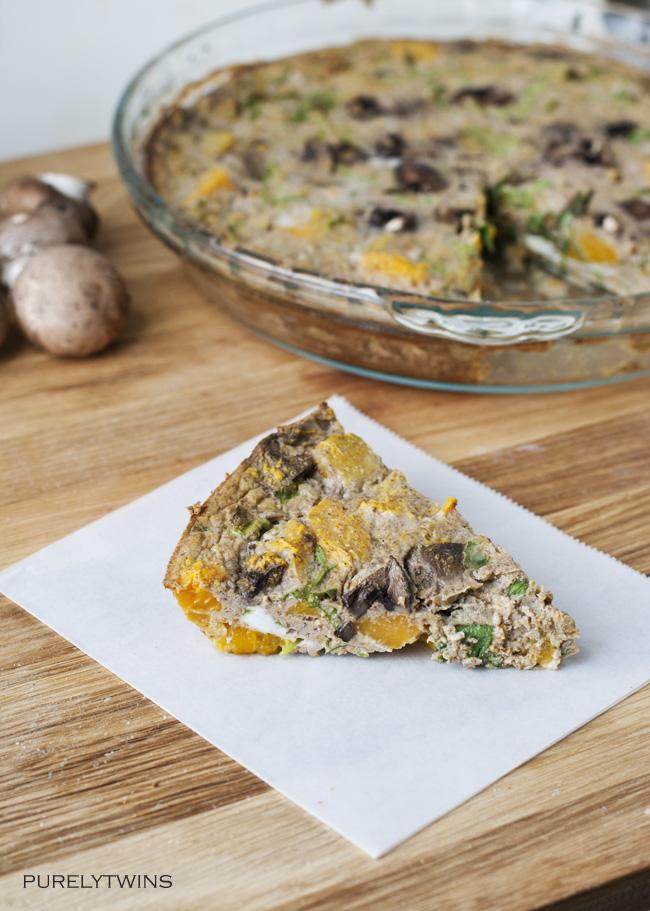 squash argula mushroom quiche