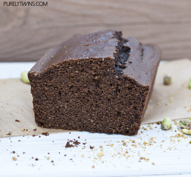 chocolate pistachio nut butter bread loaf