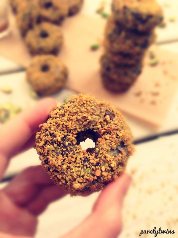 chocolate pistachio donuts