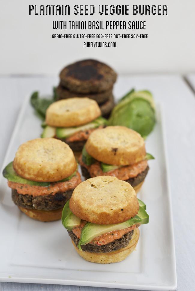 grain free gluten free vegan plantain seed veggie burgers purelytwins