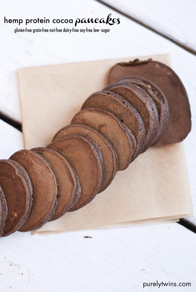 grain-free hemp protein cocoa pancakes recipe from purelytwins.com