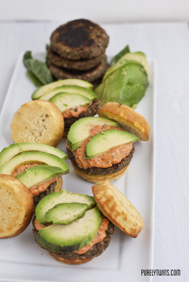 plantain veggie burgers with plantain buns
