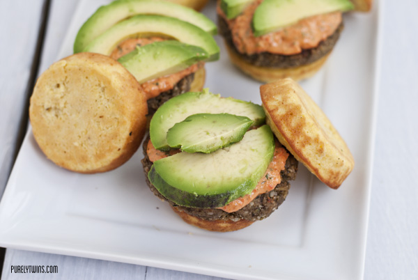 grain-free egg-free plantain veggie burger with tahini basil pepper sauce