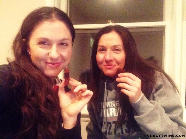 twins eating brownie
