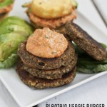 ultimate grain-free egg-free veggie burger with tahini basil pepper sauce