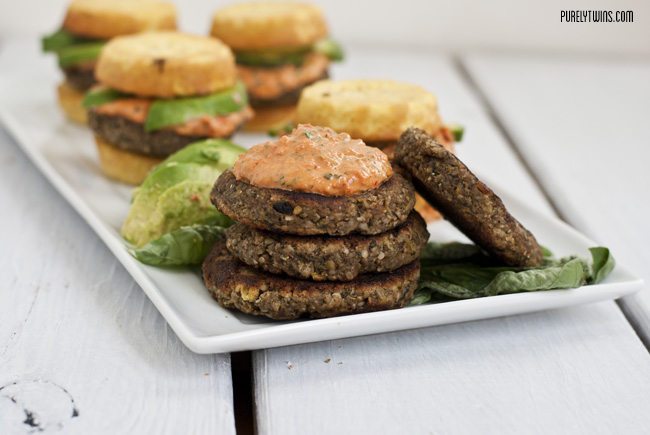 veggie plantain burger with tahini pepper spread
