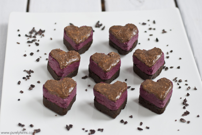 double layer beet fudge chocolate protein hearts