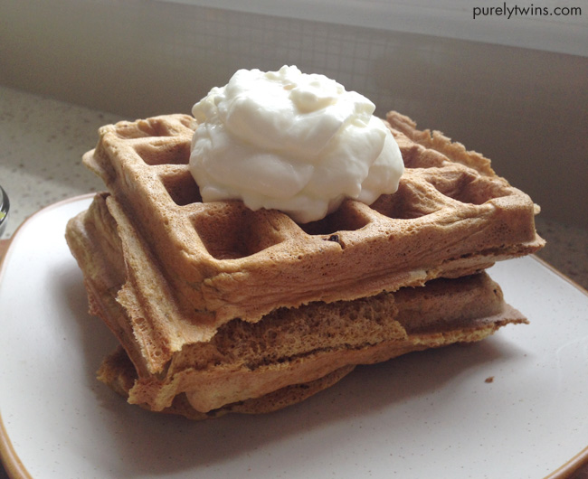 grain free plantain paleo waffles with yogurt