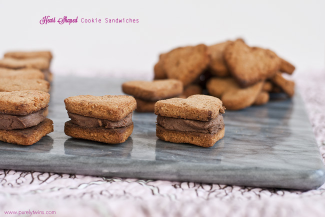 heart shaped coconut flour cookie sandwiches
