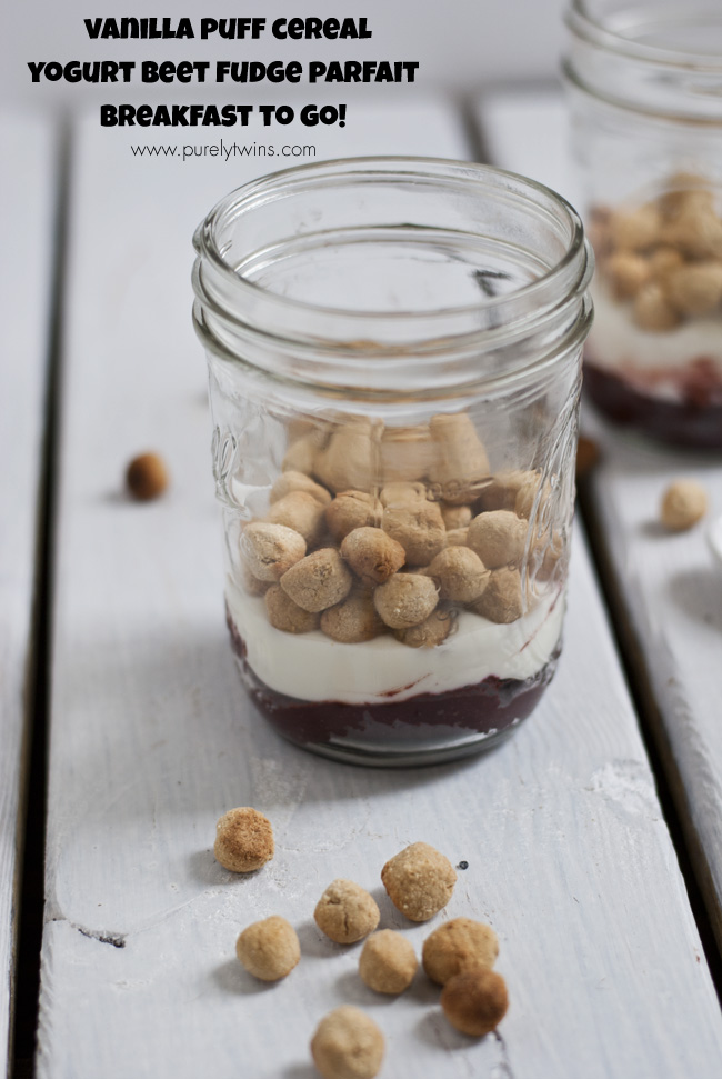 quick healthy breakfast to go vanilla puff ceral yogurt fudge parfait