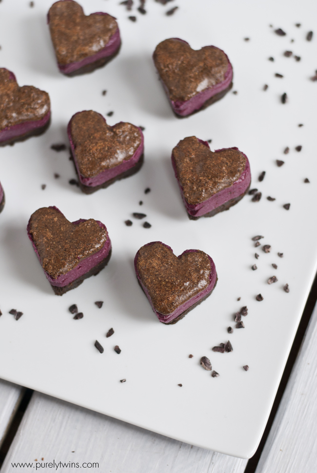 unbaked chocolate protein beet fudge hearts with carob glaze purelytwins