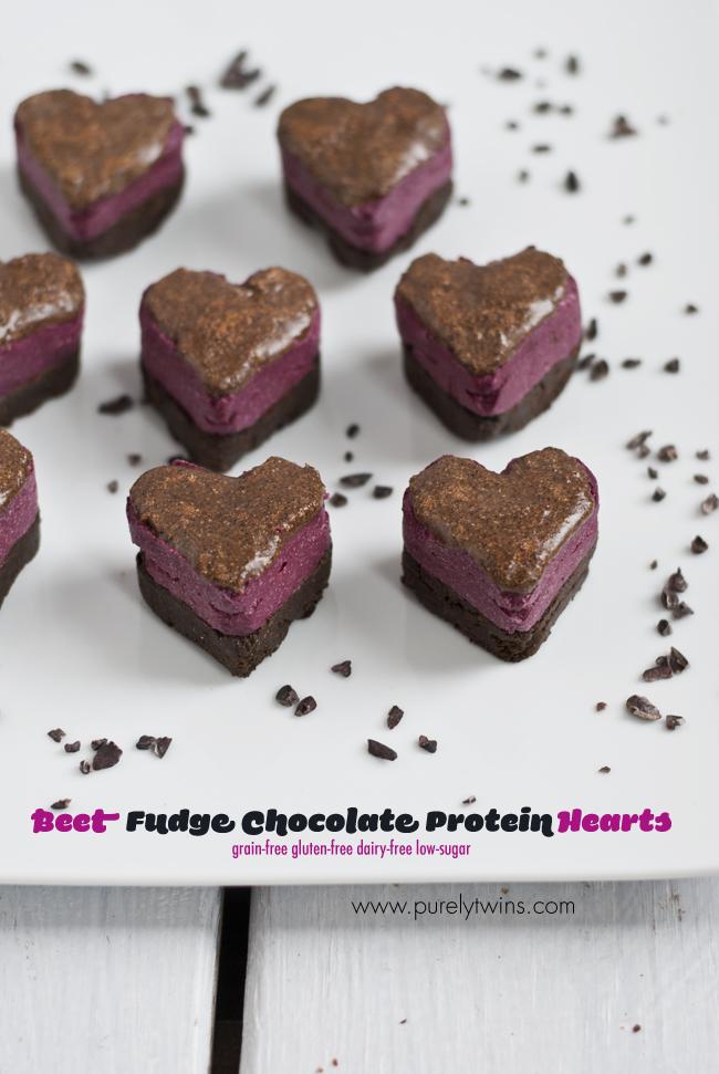 valentine chocolate protein beet fudge hearts purelytwins