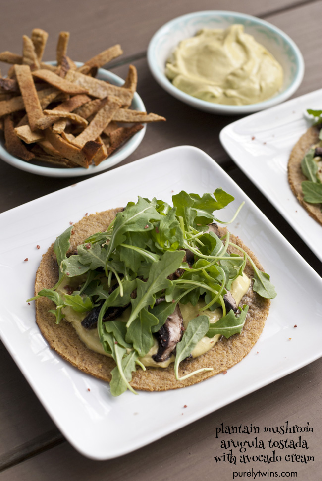 grain free avocado cream mushroom arugula plantain tostada purelytwins