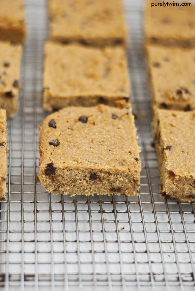 grain free peanut butter chocolate chip blondies purelytwins