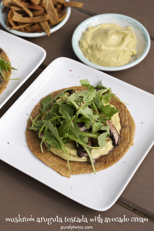 grain free vegan mushroom arugula tostada with avocado cream purelytwins