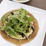 mushroom arugula tostada with 3 ingredient avocado cream