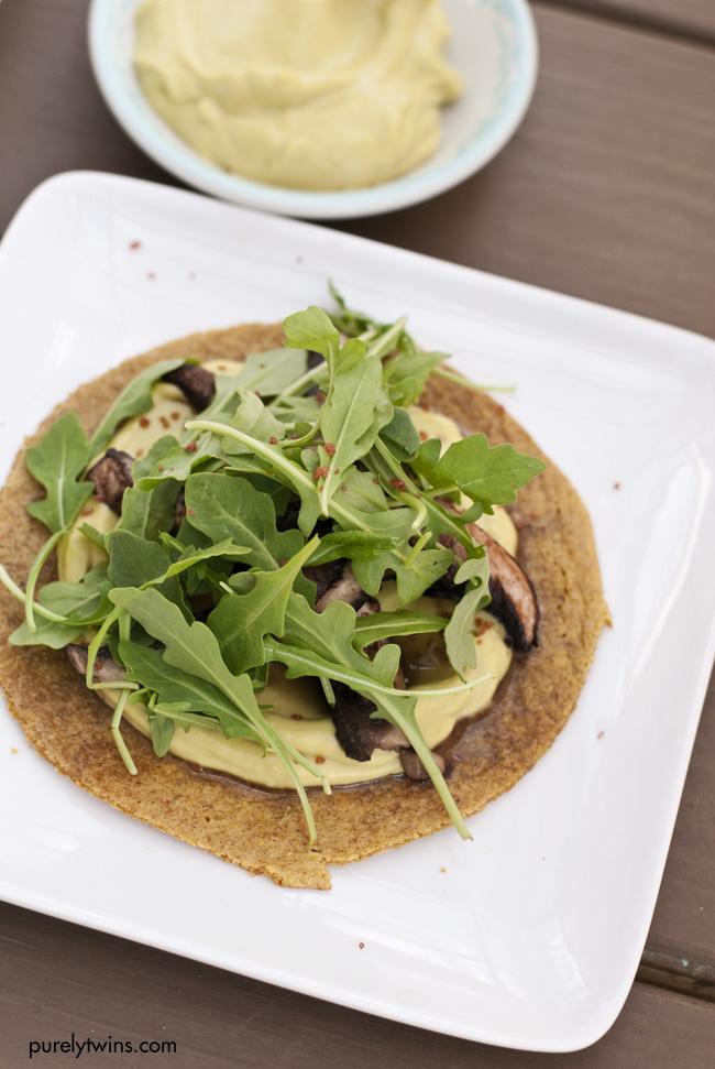 mushroom arugula tostada with 3 ingredient avocado cream
