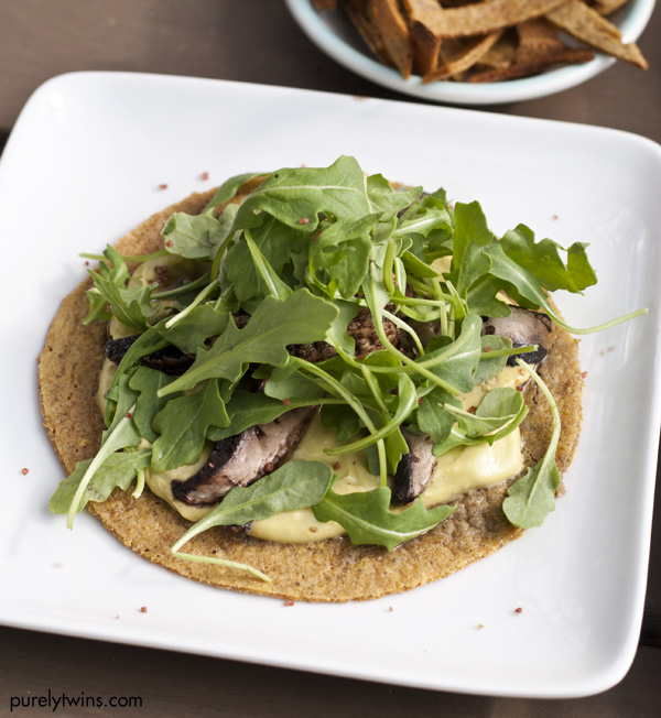 mushroom arugula grain-free vegetarian tostada with 3 ingredient avocado cream