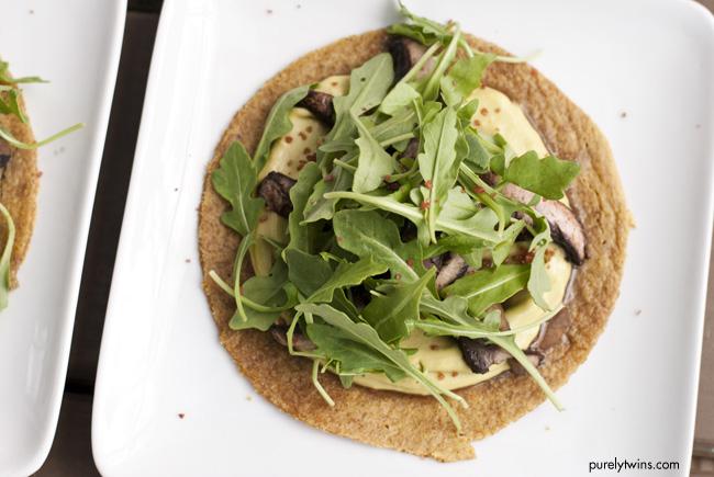 vegetarian avocado cream mushroom tostada purelytwins