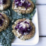 Kale veggie burgers made from plantains.