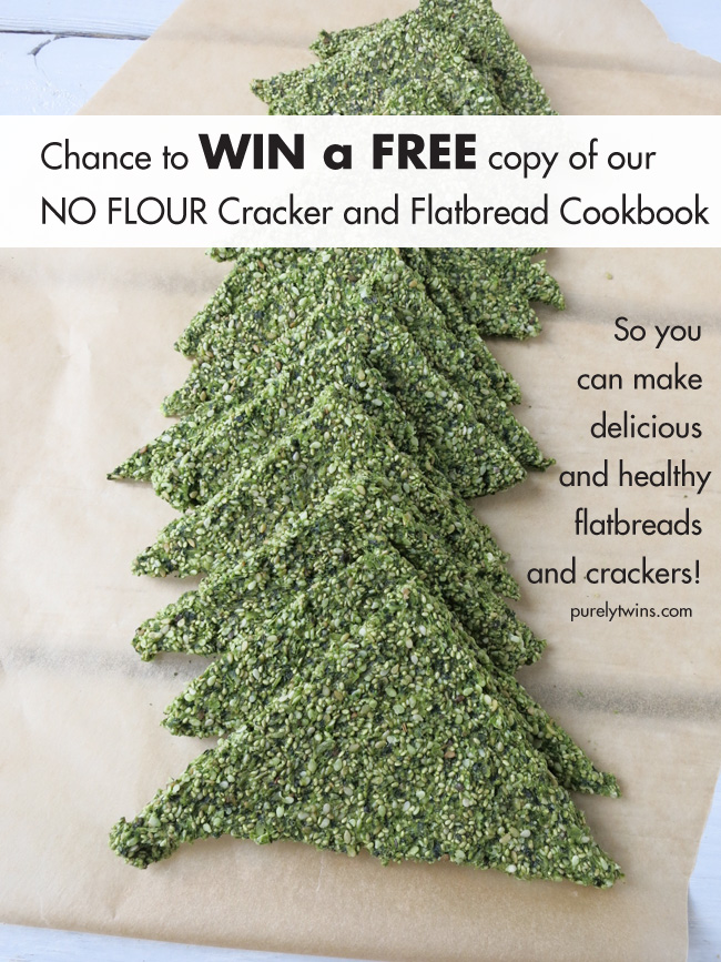 enter for a chance to win a free copy of no flour cracker flatbread cookbook via @purelytwins